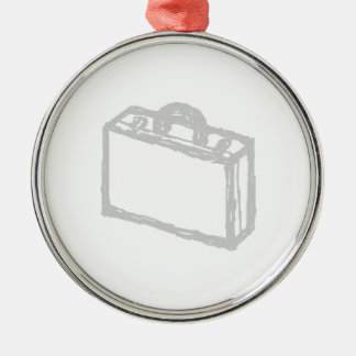Office Briefcase or Travellers Suitcase. Sketch. Metal Ornament