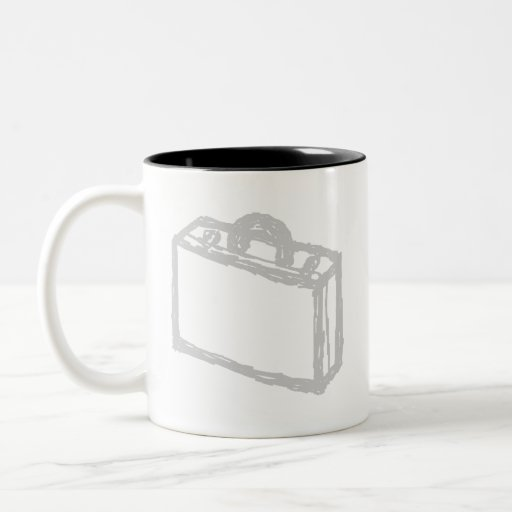 Office Briefcase or Travellers Suitcase. Sketch. Mugs