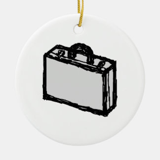 Office Briefcase or Travellers Suitcase. Sketch. Double-Sided Ceramic Round Christmas Ornament
