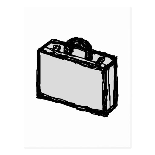 Office Briefcase or Travellers Suitcase. Sketch. Postcard