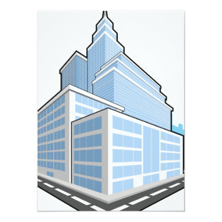 Office Building 5.5x7.5 Paper Invitation Card