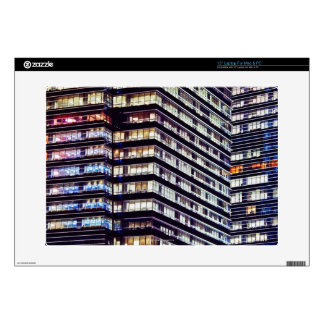 """Office buildings at night, Singapore Decal For 15"""" Laptop"""