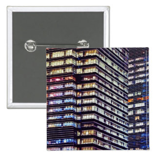 Office buildings at night, Singapore Pinback Button