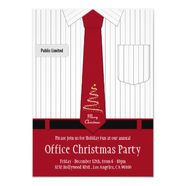 Christmas Themed Office Christmas Party Shirt and Tie Card