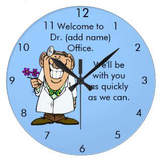 Office Clock del texto del personalizar del Dr. Reloj Redondo Grande