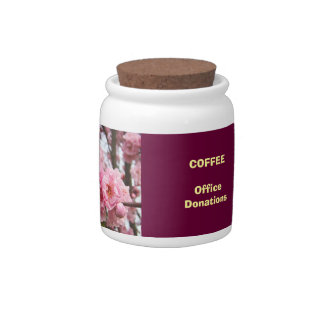 Office Coffee Donation Jar Blossoms Flowers Candy Dishes