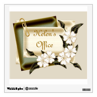 Office decal with flowers and note pad add name
