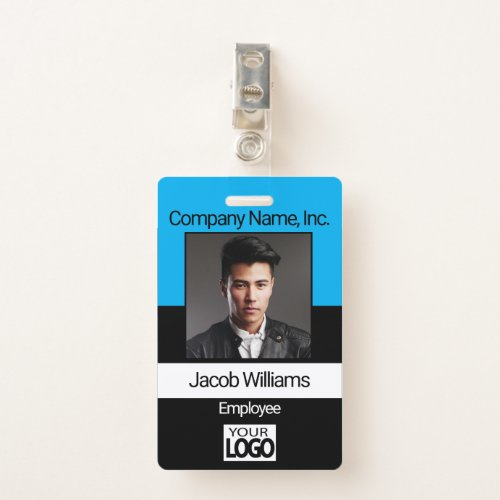 Office Employee Picture ID _ Black  Baby Blue Badge