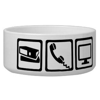 Office equipment pet food bowls