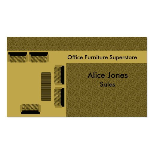 Office Furniture Business Card, Beige Business Card