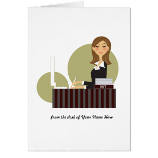 Office Girl Personalized Notecards Greeting Card