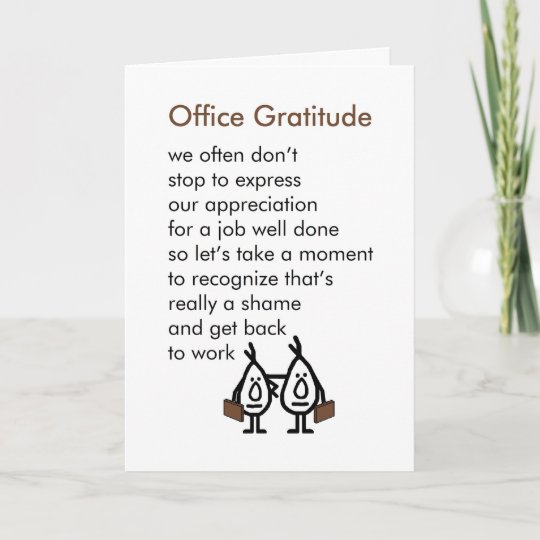 office gratitude  a funny office thank you poem  zazzle