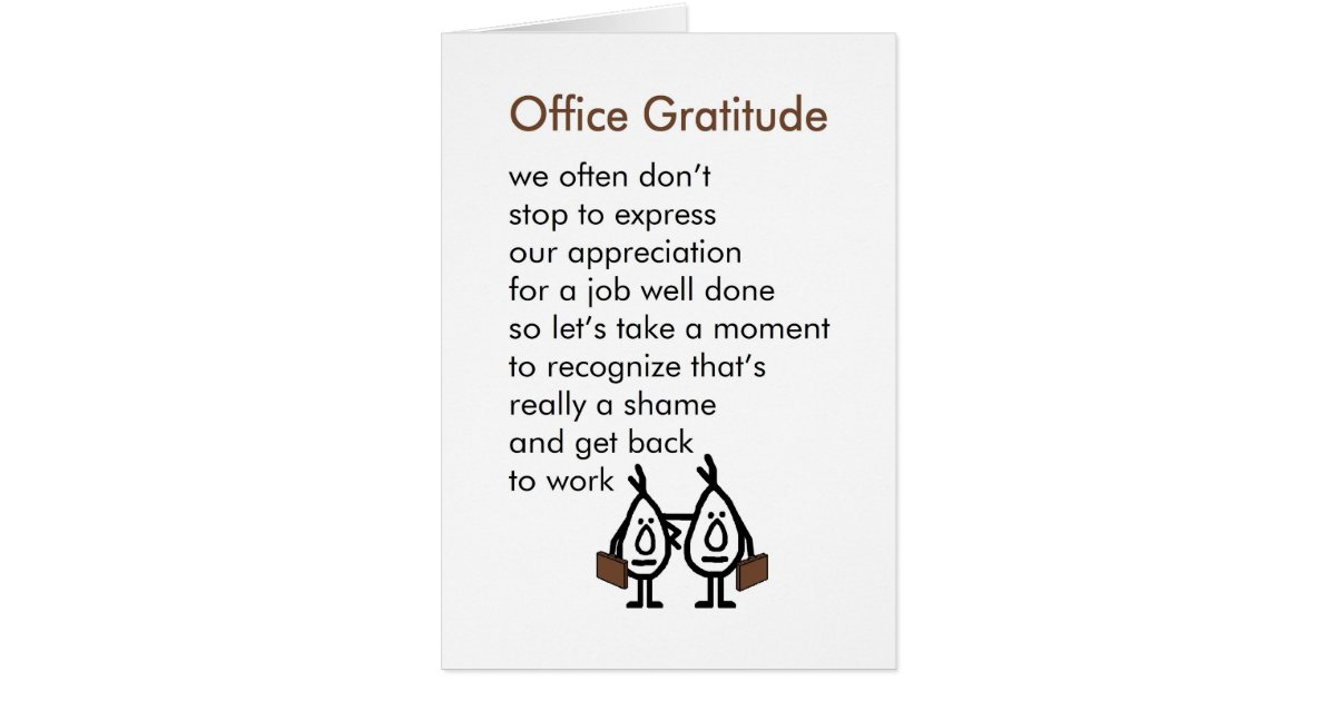 Office Gratitude A Funny Office Thank You Poem Card Zazzle