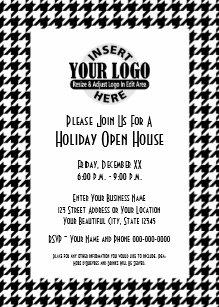Office Holiday Party Black White Houndstooth Logo Invitation