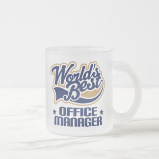 Office Manager Gift (Worlds Best) Frosted Glass Coffee Mug
