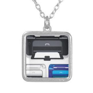 Office Printer Silver Plated Necklace