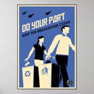 Office Propaganda: Breakroom (blue) Poster at Zazzle