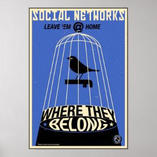 Office Propaganda: Social Network (blue) Poster at Zazzle