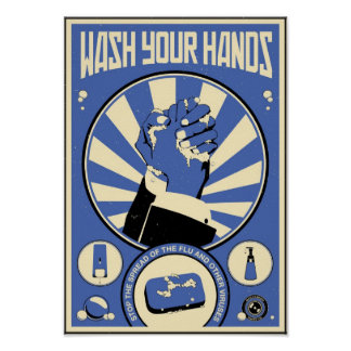 Office Propaganda: Wash your hands (blue) Posters