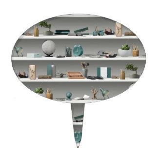 Office Shelves Wellness Teal Cake Topper