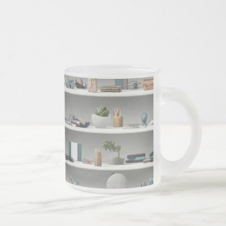 Office Shelves Wellness Teal Frosted Glass Coffee Mug