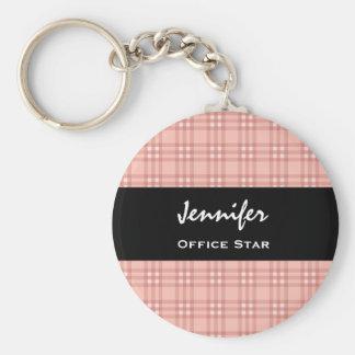 OFFICE STAR Custom Name Black Pink Plaid Gift Keychain