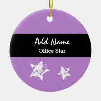Office Star Purple Background Custom Name V01 Ceramic Ornament