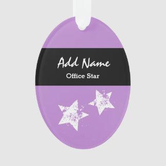 Office Star Purple Background Custom Name V01 Ornament