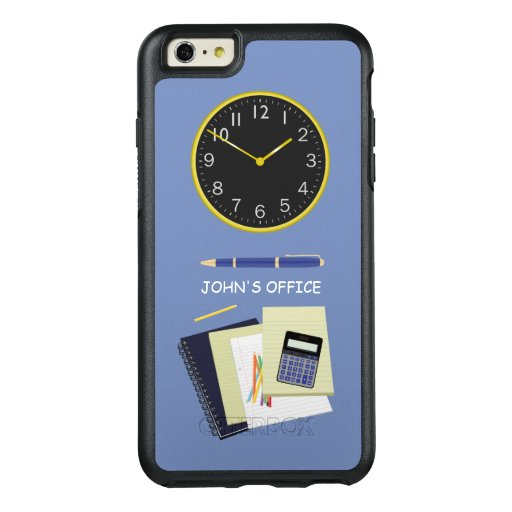 Office Stationery and Clock Blue OtterBox iPhone 6/6s Plus Case