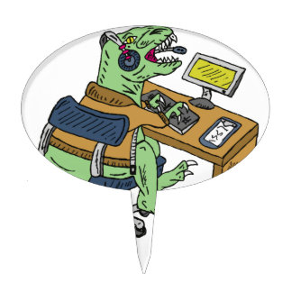Office T-Rex Cake Topper