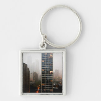 Office towers, condos and Hancock Tower in fog Keychain