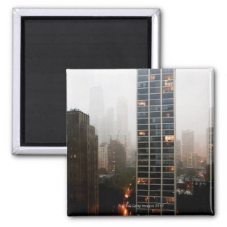 Office towers, condos and Hancock Tower in fog Magnet