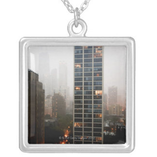 Office towers, condos and Hancock Tower in fog Silver Plated Necklace