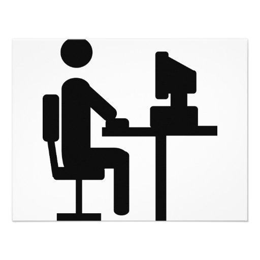 office worker icon 4.25x5.5 paper invitation card | Zazzle