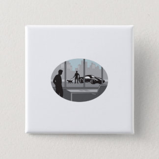 Office Worker Looking Through Window Oval Woodcut Button