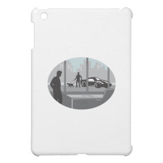 Office Worker Looking Through Window Oval Woodcut iPad Mini Cover