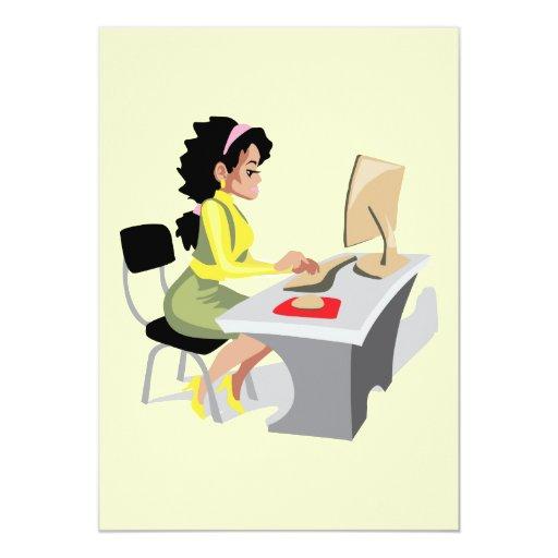 OFFICE WORKER WOMAN BUSINESS LOGO GRAPHICS SECRETA CARD