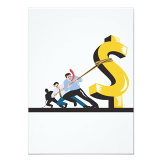 Office Workers Pulling Down Dollar 11 Cm X 16 Cm Invitation Card
