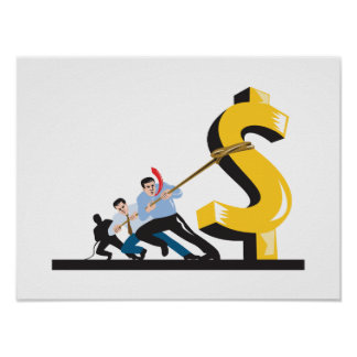 Office Workers Pulling Down Dollar Poster