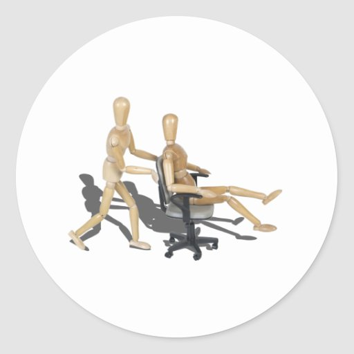 OfficeChairRaces090912.png Classic Round Sticker