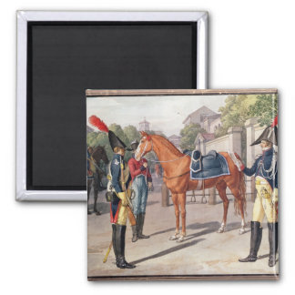 Officer and Guard of the Royal Guard in 1826 2 Inch Square Magnet