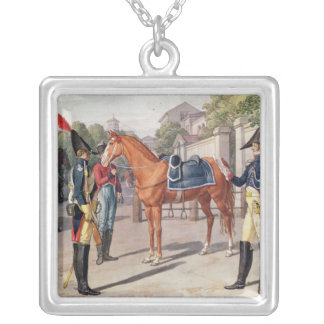 Officer and Guard of the Royal Guard in 1826 Square Pendant Necklace