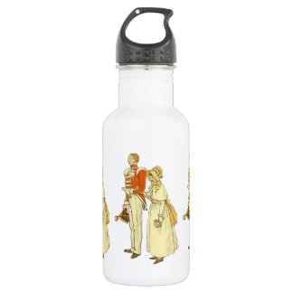 Officer and Lady ~ Vintage Illustration Stainless Steel Water Bottle