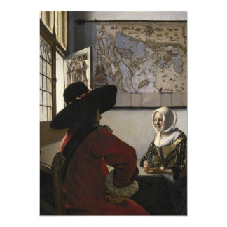Officer and Laughing Girl by Johannes Vermeer 4.5x6.25 Paper Invitation Card