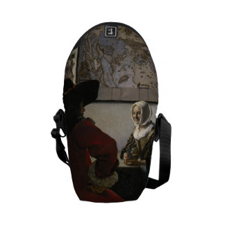 Officer and Laughing Girl by Johannes Vermeer Messenger Bag