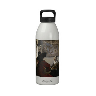 Officer and Laughing Girl by Johannes Vermeer Drinking Bottles