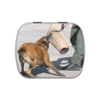 officer k9 training arm bite painting dog canine candy tin