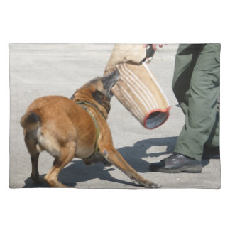 officer k9 training arm bite painting dog canine placemat