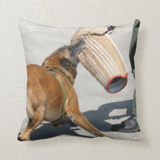 officer k9 training arm bite painting dog canine throw pillow