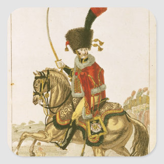 Officer of the Hussars of the Imperial Guard Square Sticker